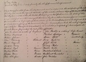 Michael Schnellinger's naturalization record, March 20, 1857. The name was commonly misspelled Snellinger.
