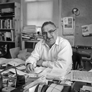 Golden at his desk in 1957. Photo by Tom Nebbia; LOOK Magazine Photograph Collection, Library of Congress, Prints and Photographs Division.